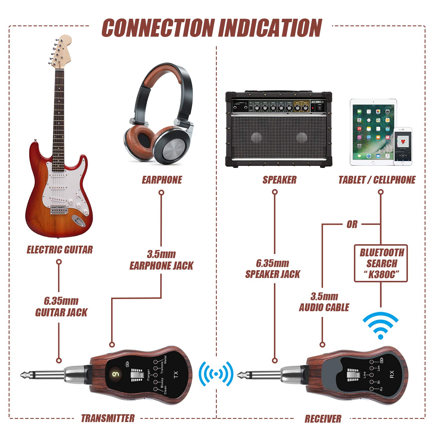 tonor wireless guitar system 10 channels rechargeable wireless audio transmitter receiver. Black Bedroom Furniture Sets. Home Design Ideas