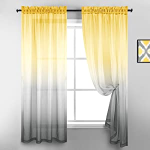 Bright Yellow and Grey Ombre Curtains 2 Panels Rod Pocket Gradient Rainbow Pattern Faux Linen Semi Sheer Curtains for Bedroom Living Room Kitchen Decor 52 x 63 Inch Length Light Gray Charcoal Shades