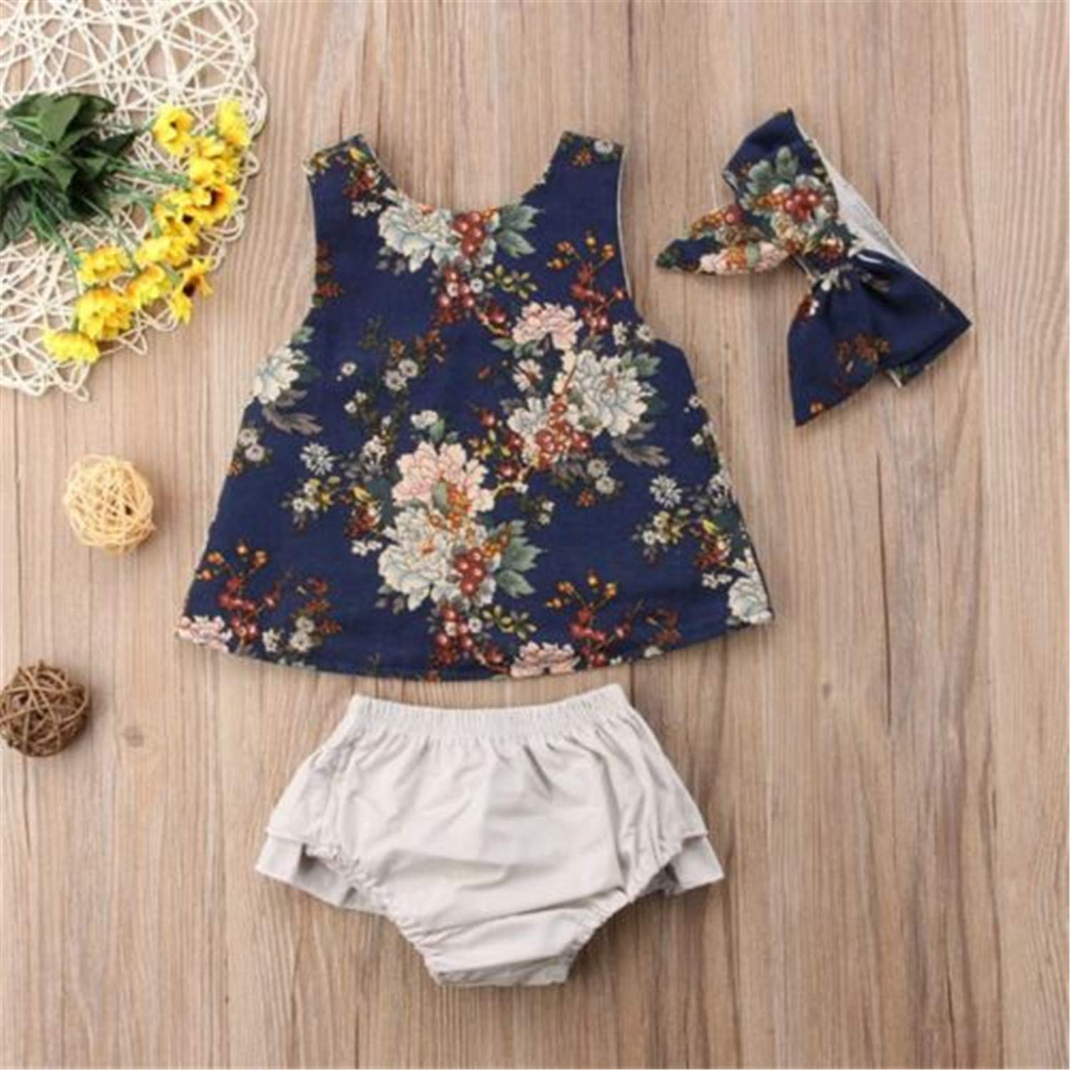 Fashion New Toddler Kids Baby Girls Outfit Clothes Sets Vest T-Shirt Sleeveless Tops Shorts Floral Irregular Clothing 0-3T