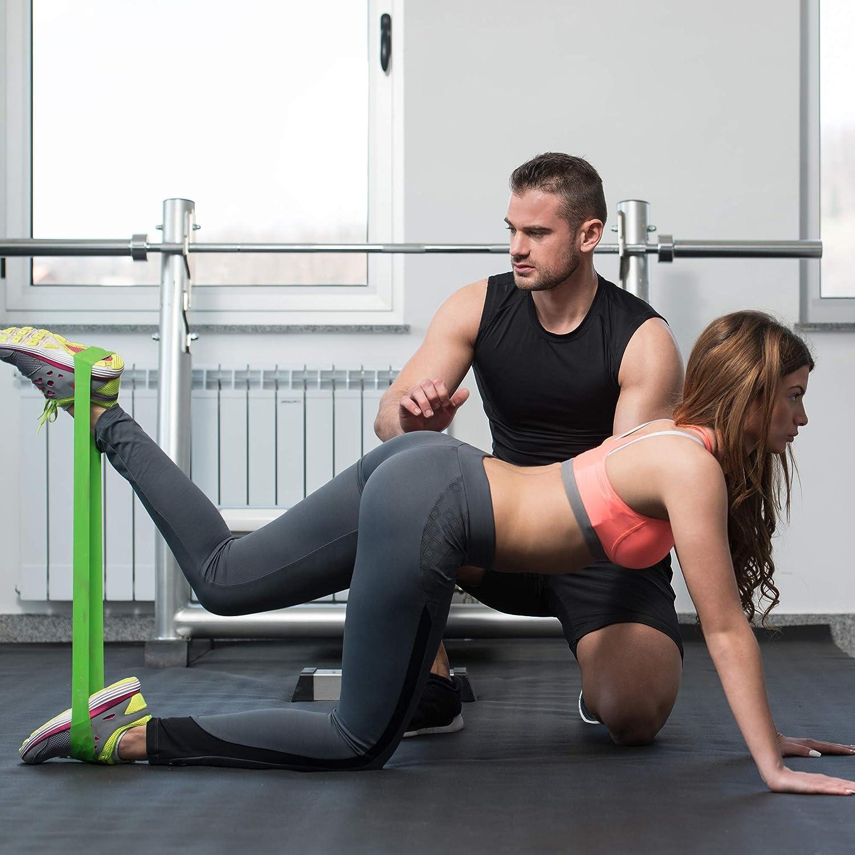 Reehut Fitnessb/änder Widerstandsb/änder Set mit 5 St/ärken aus Naturlatex Unisex f/ür Finess Training Gymnastik Yoga Plates