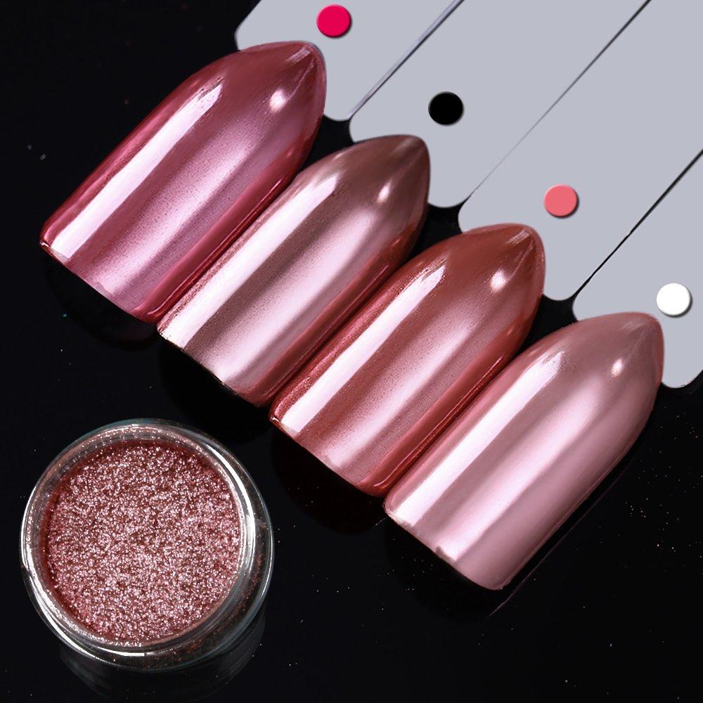 Ushion rose Gold Chrome polvere effetto specchio metallo nail pigmento polveri glitter nail art Decoration 0.2g