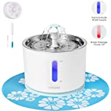 Cat Water Fountain, Stainless Steel Top and Intelligent Auto Power Off Pump, Pet Water Dispenser for Cat and Dog with 3 Carbon Filters, 1 Mat and 2 Cleaning Brushes, Water Level Window with LED Light