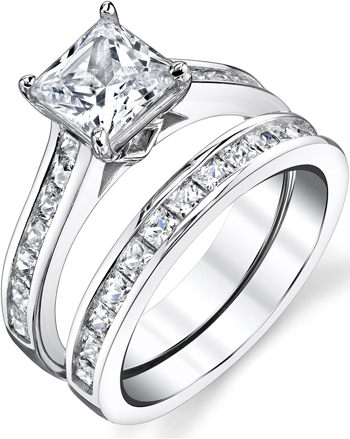 It is just a graphic of Sterling Silver Princess Cut Bridal Set Engagement Wedding Ring Bands With Cubic Zirconia