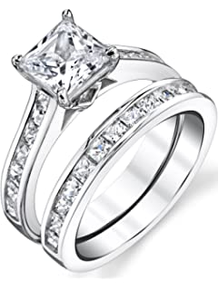 sterling silver princess cut bridal set engagement wedding ring bands with cubic zirconia - Wedding Rings And Bands