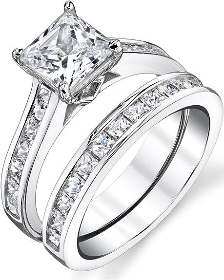 Amazon Com Sterling Silver Princess Cut Bridal Set Engagement
