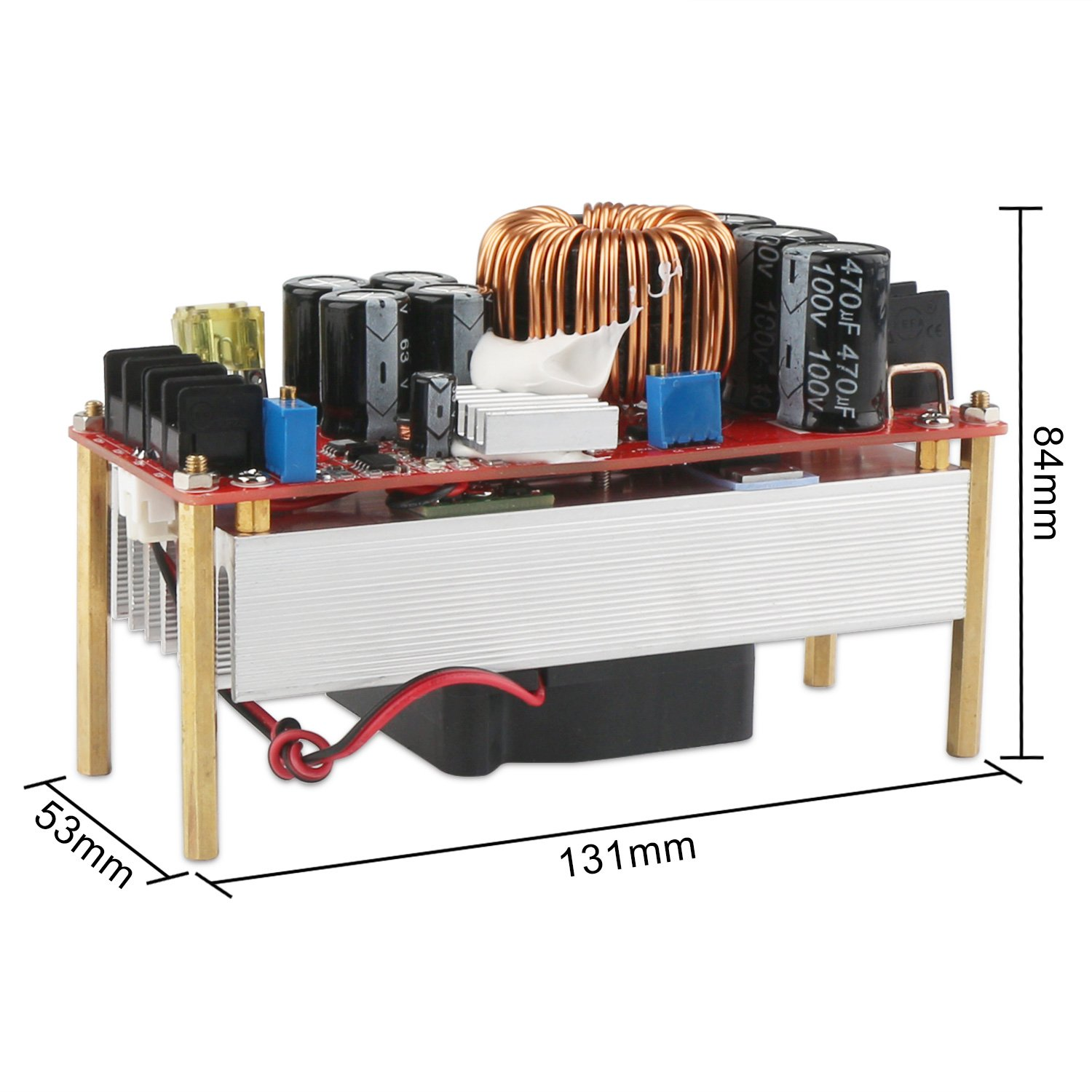 Boost Voltage Converter, DROK 1500W Voltage Regulator Booster DC 10V-60V 12V Step Up to DC 12V-90V 24V 30A Power Supply Module High Power Volt Transformer Circuit Board with Cooling Fan by DROK (Image #3)