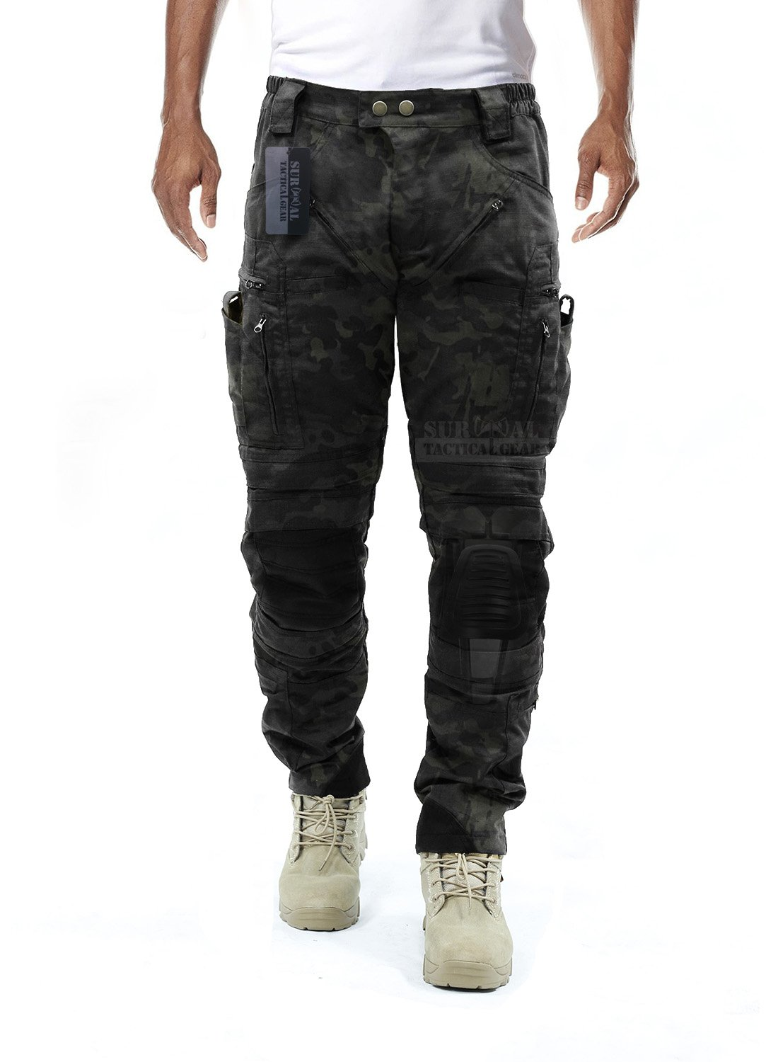Survival Tactical Gear Men's Airsoft Wargame Tactical Pants with Knee Protection System & Air Circulation System (Multicam Black Camo, L) by Survival Tactical Gear