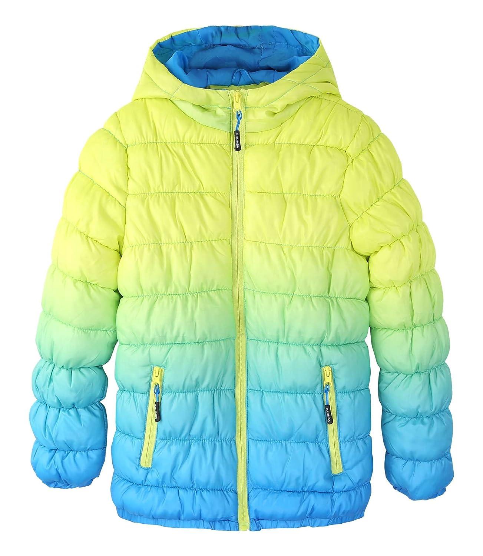 Krumba Boy's Zip Front Gradient Waterproof Dip Dye Fake Down Hooded Puffer Jacket