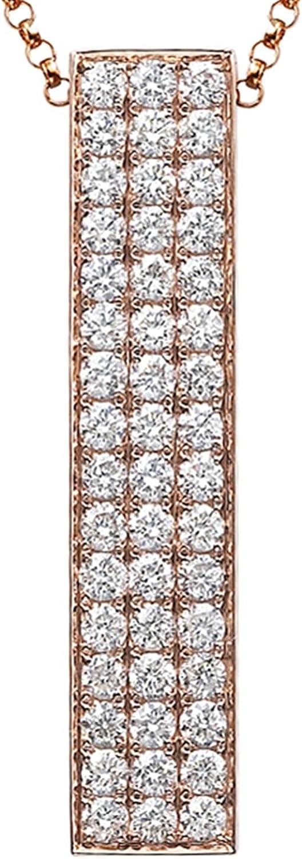 Epinki Mujer Oro 18K Collar Rectangular Colgante Collar de Diamante Joyería Nupcial Oro Rosa con 1Ct Diamante