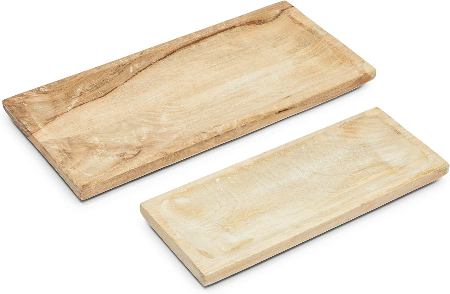 Mango Wood Food Serving Trays, Platters in in 2 Sizes (2 Piece Set)