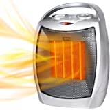 Portable Electric Space Heater 1500W/750W Personal Room Heater with Thermostat, Small Desk Ceramic Heater with Tip Over and O