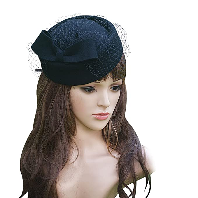 1950s Women's Hat Styles & History Lawliet Womens Wool Fascinator Retro Pillbox Hat Wool Felt Cocktail Party Wedding Bow Veil £17.66 AT vintagedancer.com