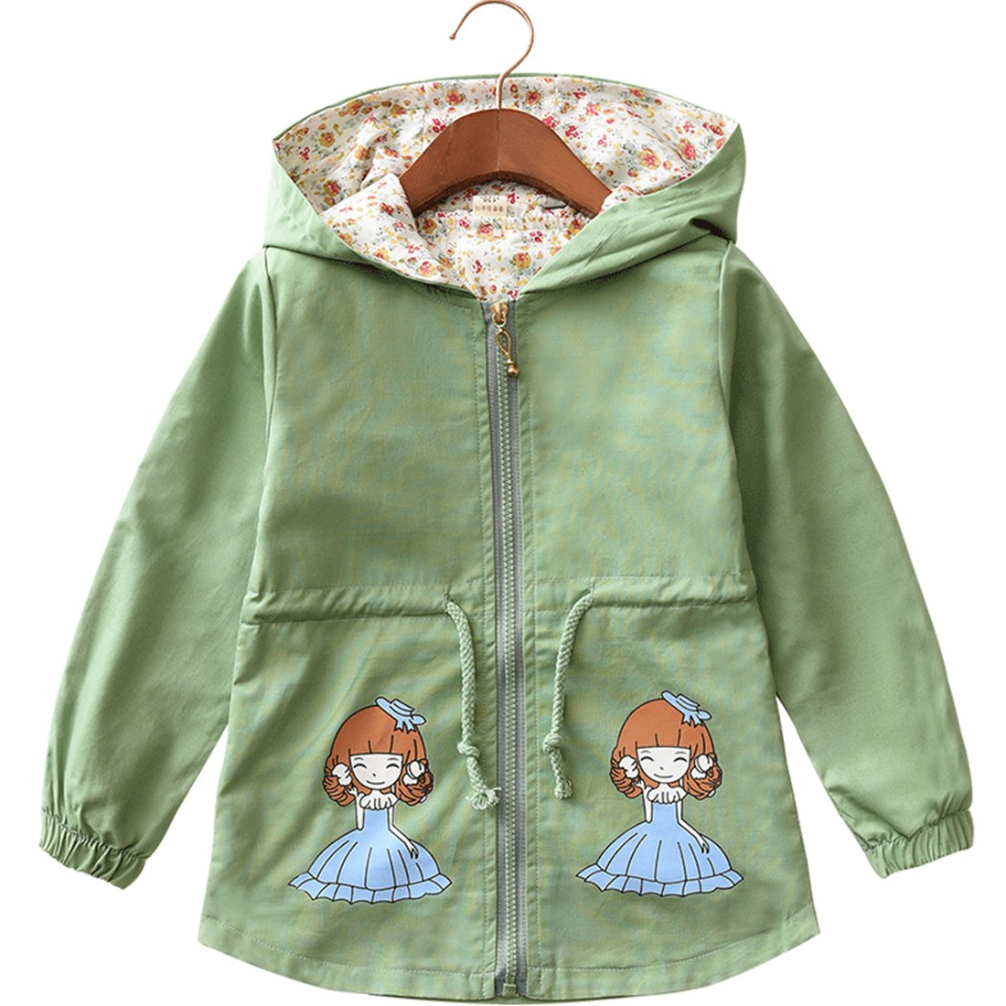 LE CHARME Girls Zip Jacket Winter Lightweight Coat Hooded Outwear Green 3-4Y 110