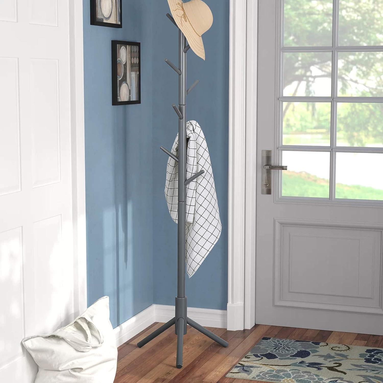 Sturdy Coat Rack Stand-Coat Hat Tree Coat Hanger Holder Stand for Clothes,Scarves,Handbags,Umbrella-(8 Hooks,Gray)