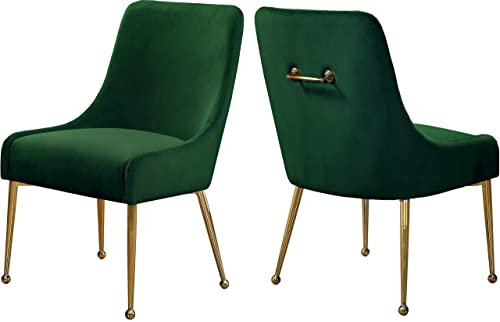 Meridian Furniture Owen Collection Modern Contemporary Green Velvet Upholstered Dining Chair with Polished Gold Metal Legs, Set of two, 24 W x 21 D x 34.5 H,