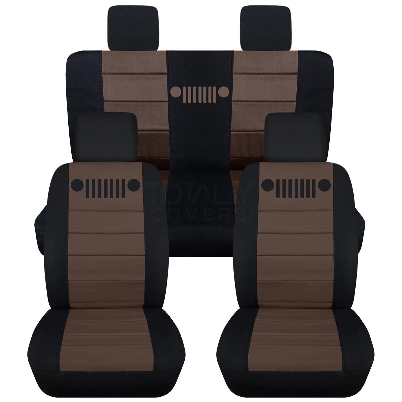 Totally Covers Fits 2007-2010 Jeep Wrangler JK Seat Covers: Black /& Burgundy 23 Colors Full Set: Front /& Rear 2008 2009 2-Door//4-Door Complete Back Solid//Split Bench