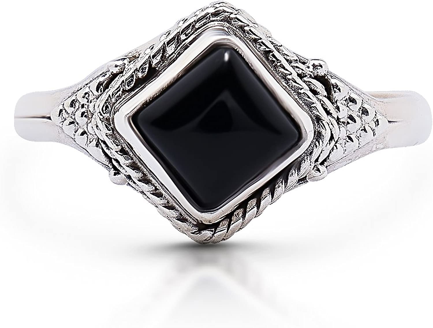 Onix square stone in bezel and Silver 925 band
