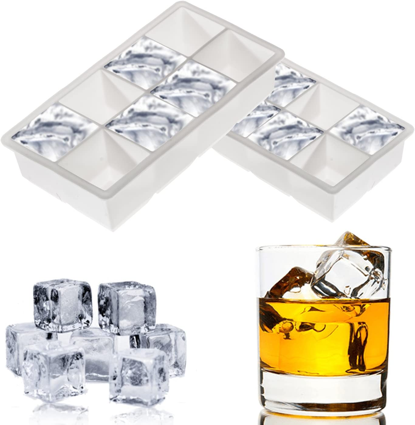 Cozy Home Silicone Ice Cube Tray Mold with 8 Large Square Molds, White (Set of 2)