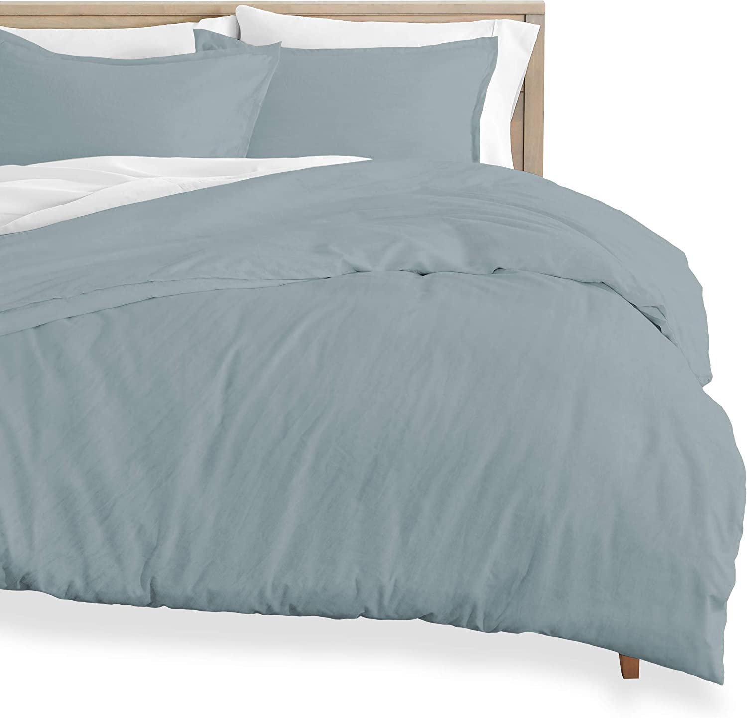 Bare Home Washed Duvet Cover and Sham Set - Twin/Twin XL - Premium 1800 Ultra-Soft Brushed Microfiber - Hypoallergenic, Easy Care, Stain Resistant (Twin/Twin XL, Sandwashed Dusty Blue)