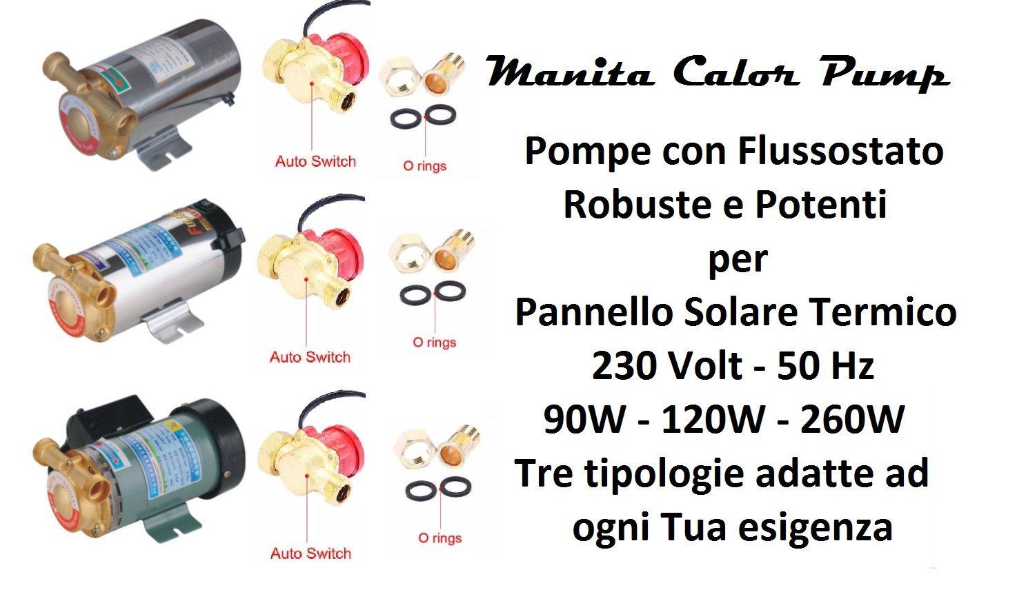 Pumpe Edelstahl Manita Calor Autoklav 90 W mit flussostato Sonnenkollektor heißes Wasser