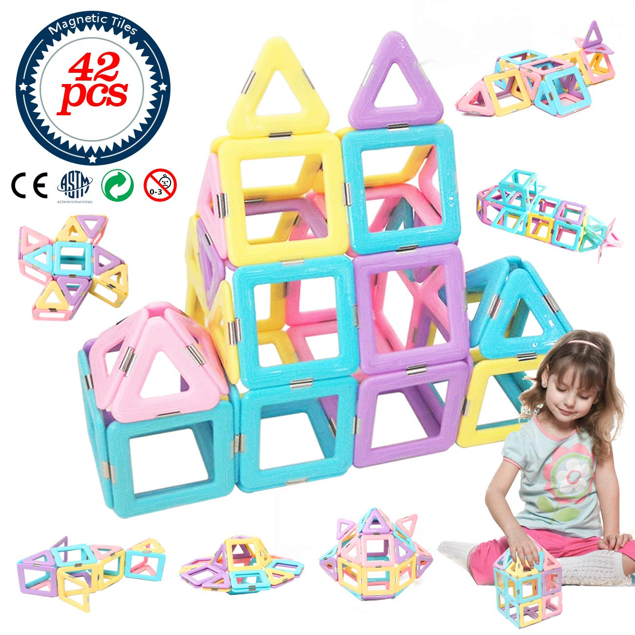 HLAOLA Magnetic Blocks Upgrade Magnetic Building Blocks Magnetic Tiles Educational Toys Tiles Set for Kids Magnet Stacking Toys for Kids Children Age 3 4 5 6 7  Year Old (Expansion Package )-42 PCS by HLAOLA