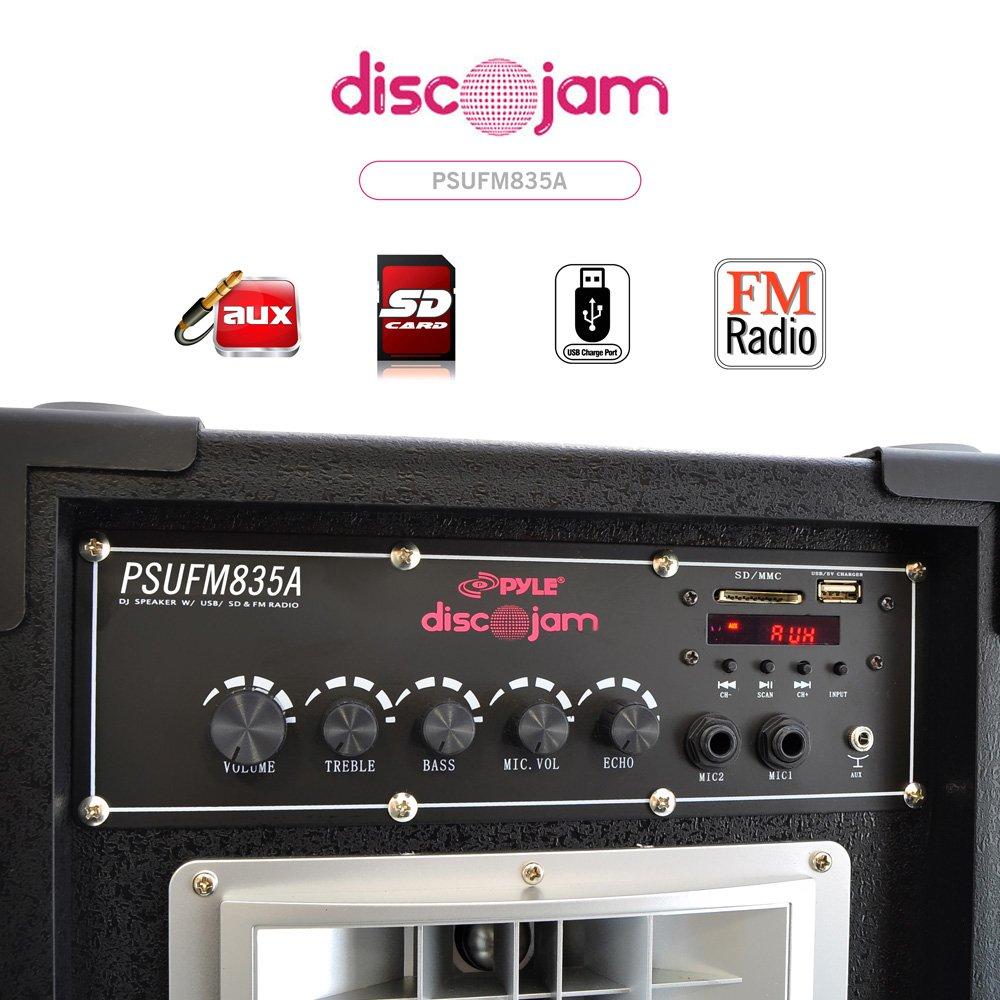 Pyle PSUFM835A 800-watt 2-Way Speaker Systems, USB/SD Card Readers, FM Radio, AUxInput Sound Around