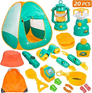Meland Kids Camping Set with Tent 20pcs - Camping Gear Tool Pretend Play Set for Toddlers Kids Boys Girls Outdoor Toy Birthday Gift