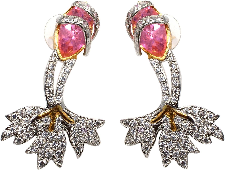 Marquise - Pendientes de cuarzo rosa, circonitas cúbicas, hechos a mano, chapados en oro amarillo, para uso diario, diseño de Jaipur Rajasthan India