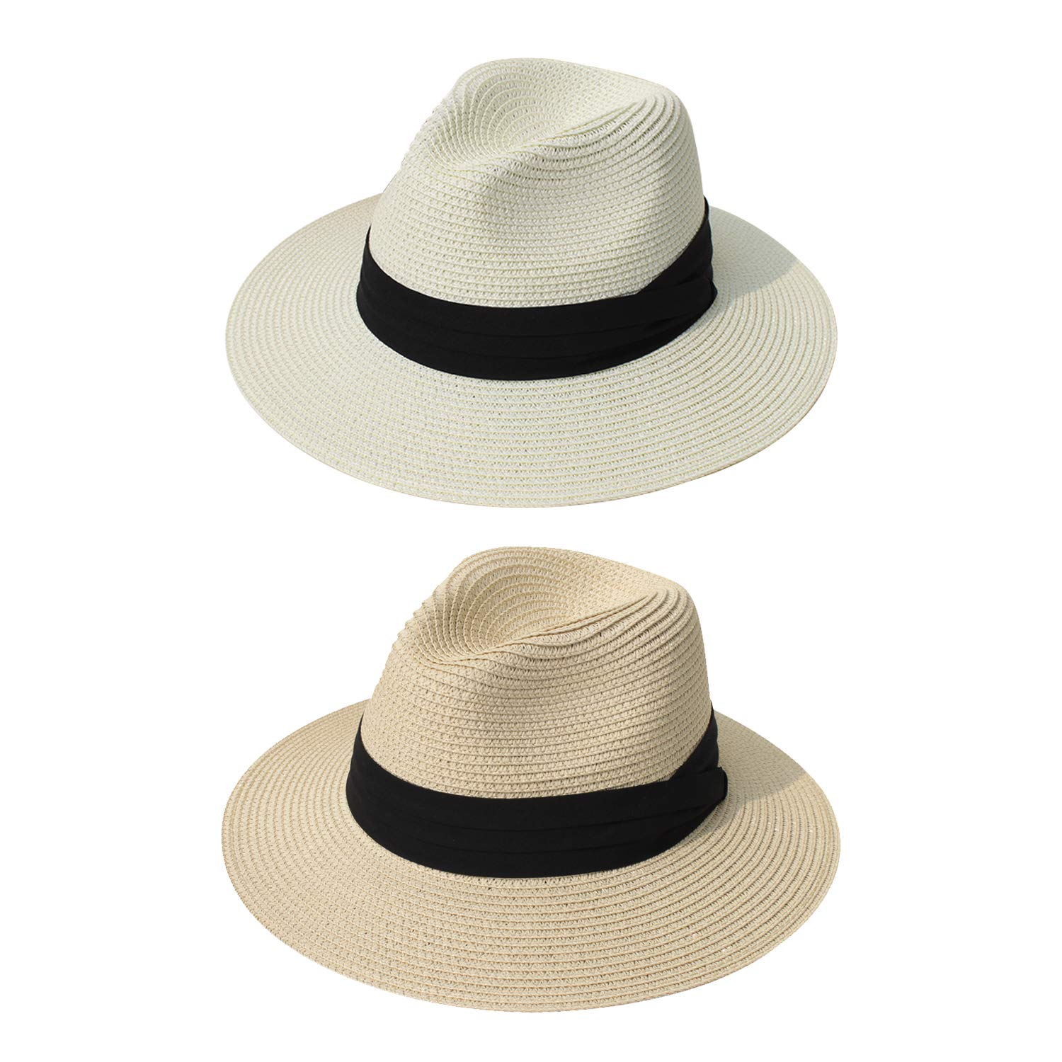 4864cc00c31b82 DRESHOW Women Straw Panama Hat Fedora Beach Sun Hat Wide Brim Straw Roll up  Hat UPF 50+ (2 Pack Fedora: Beige, Ivory) at Amazon Women's Clothing store: