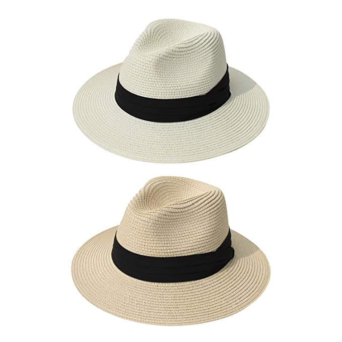 3d3faa22 DRESHOW Women Straw Panama Hat Fedora Beach Sun Hat Wide Brim Straw Roll up  Hat UPF