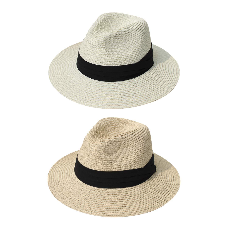 DRESHOW Women Straw Panama Hat Fedora Beach Sun Hat Wide Brim Straw Roll up Hat UPF 50+ (2 Pack Fedora: Beige, Ivory A)