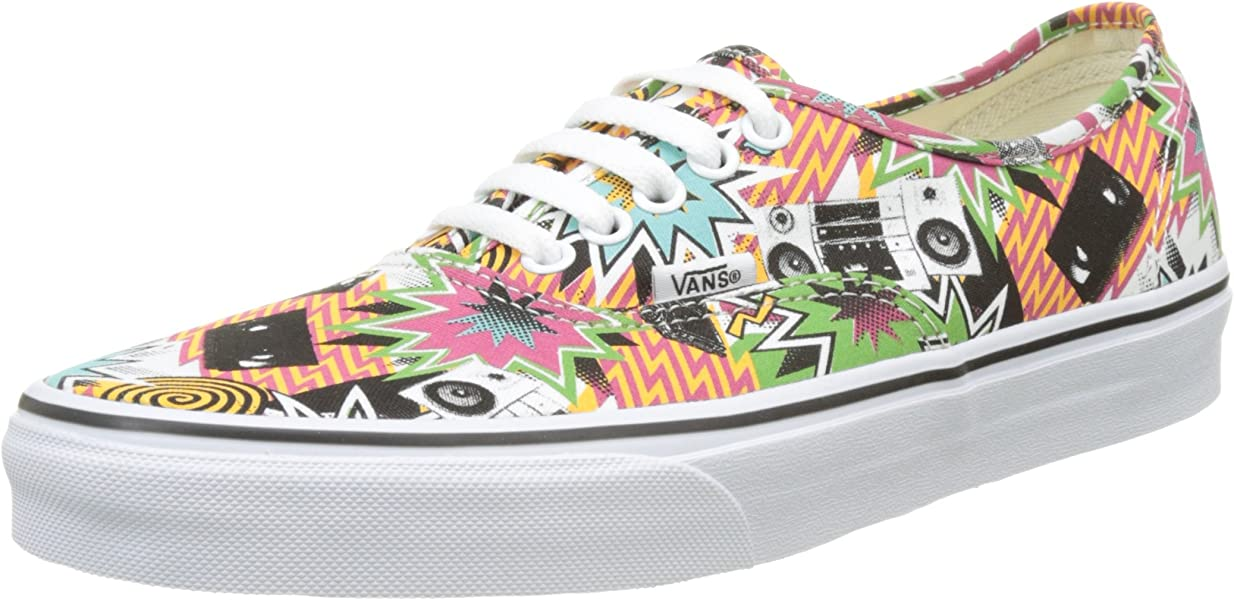 9a6b836ef6 Vans Unisex Authentic Printed Canvas Sneakers-Mixed Tape True White-8-Women
