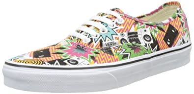4ba34a6f4e7112 Vans Unisex Authentic Printed Canvas Sneakers-Mixed Tape True White-8-Women