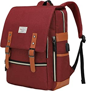 Modoker Upgraded Vintage Laptop Backpack College Bag Gifts for Women Men, Slim Travel Backpack School Bookbag with USB Charging Port Casual Rucksack Daypack Fits 15 Inch Notebook, Red