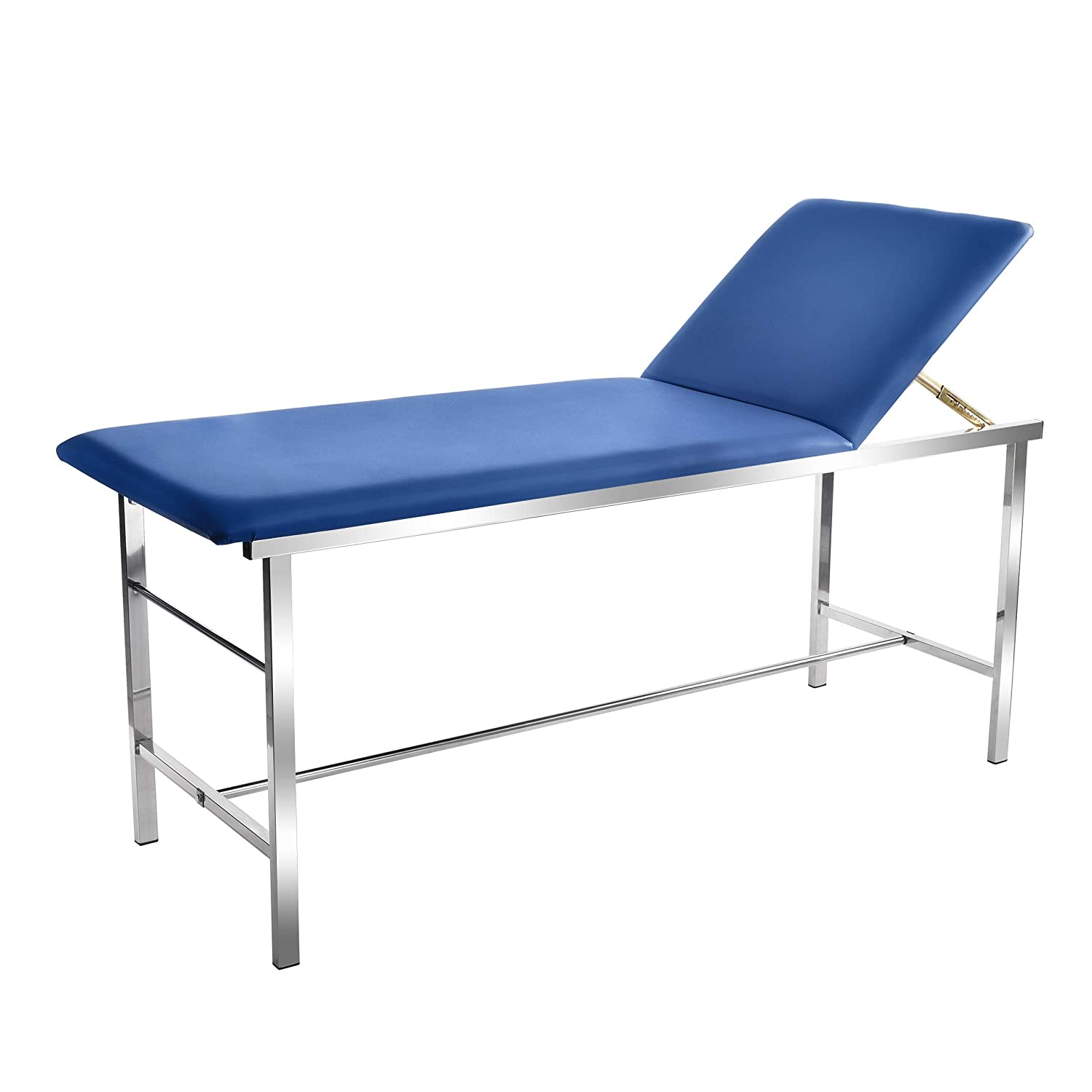 "AdirMed Reliable & Comfortable Medical Exam Table - Built In Paper Towel Dispenser - Durable 2"" Foam Padding - Powder Coated Steel Frame - Adjustable Backrest - Up to 440lbs - Easy To Clean (Blue)"