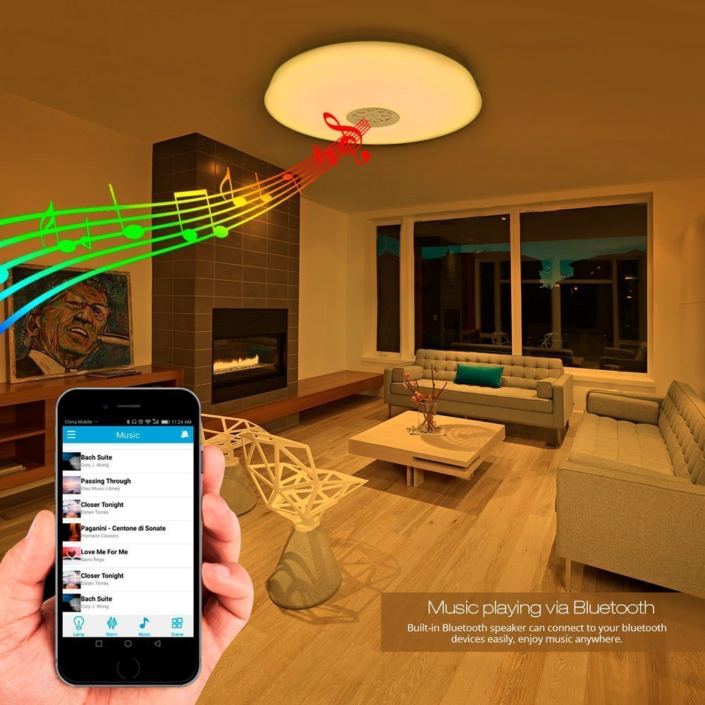 Le 24w Dimmable Led Music Ceiling Lights With Bluetooth Speaker Wiring Speakers Cellphone App Control Rgbw 3000k 6000k Color Temperature 1500lm