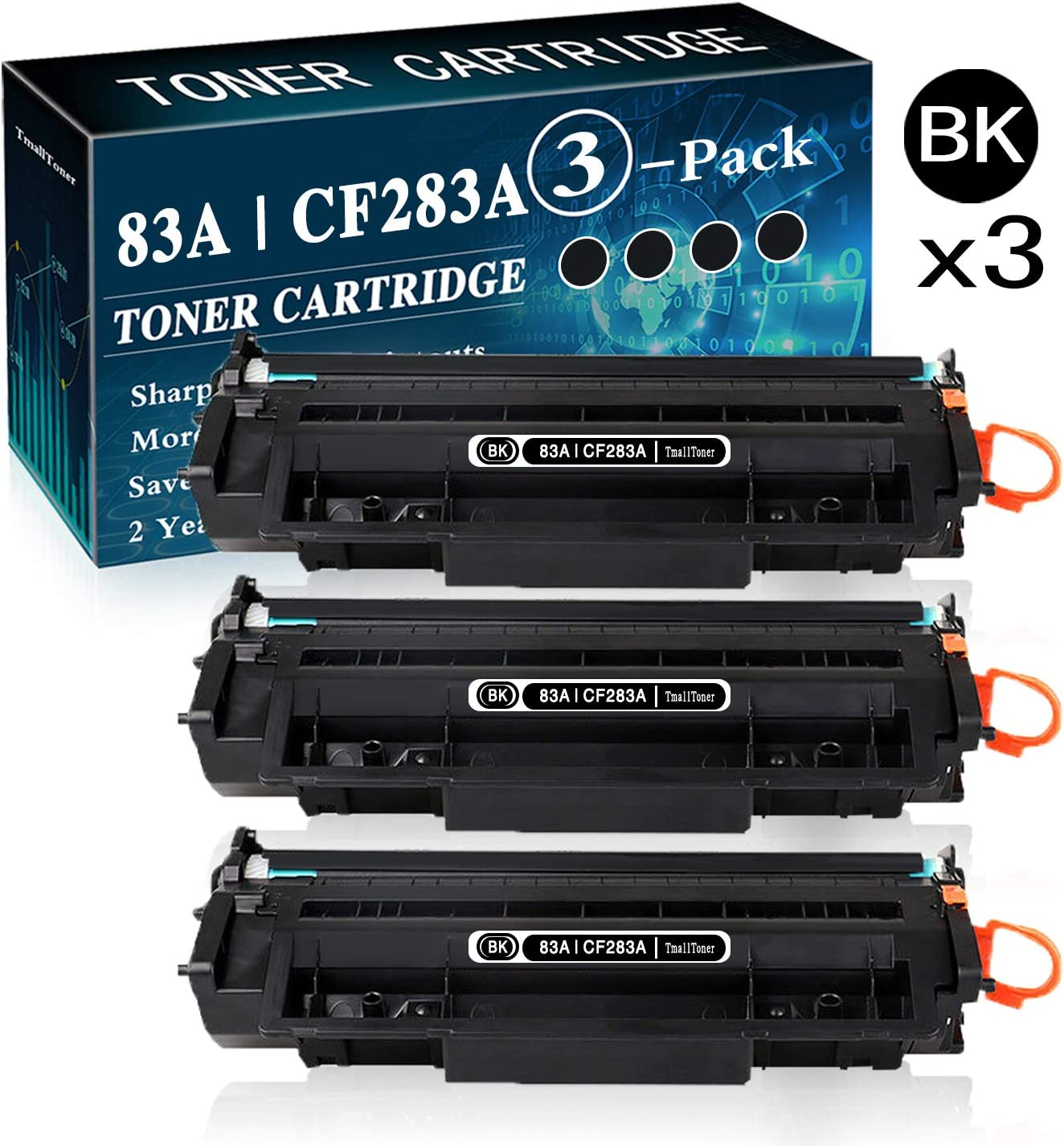 3-Pack Black 83A | CF283A Toner Cartridge Replacement for HP Laserjet M201n M201dw MFP M225dn MFP M225dw MFP M125a PMFP M125nw MFP M126a Printer,by TmallTone