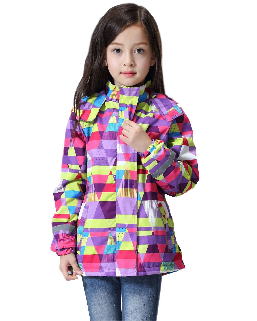 Senco-Girls Girls Windbreaker with Hood Fleece Liner Jacket for Kids Outdoor Winter Outerwear Sports Coat