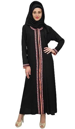 094e7d46a1b Bimba Black Islamic Abaya Casual Wear Burqa Women s Maxi Dress with Hijab -  8
