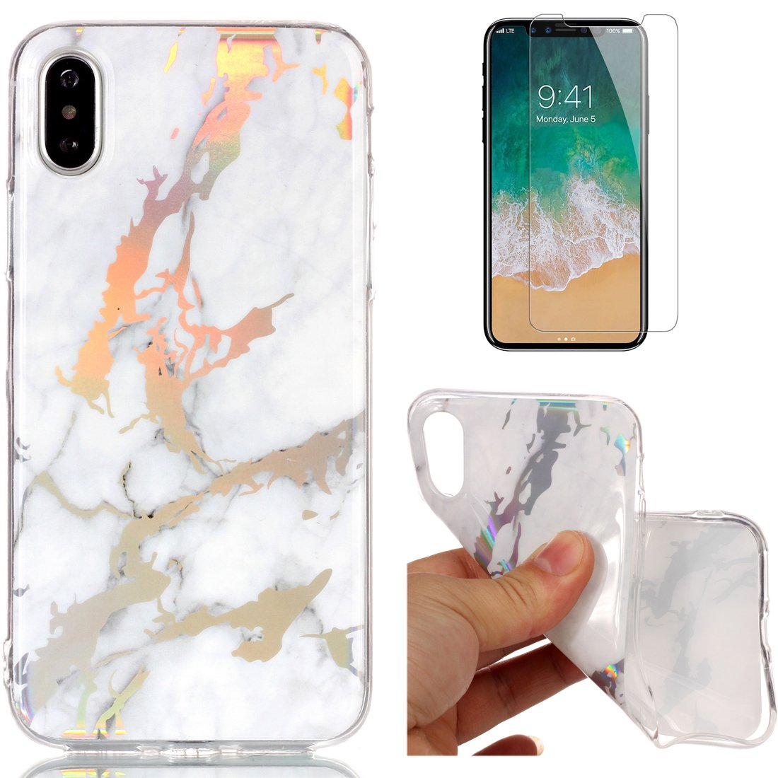 For iphone X Marble Case Purple, OYIME Unique Luxury Glitter Colorful Plating Pattern Skin Design Clear Silicone Rubber Slim Fit Ultra Thin Protective Back Cover Glossy Soft Gel TPU Shell Shockproof Drop Protection Protective Transparent Bumper and Screen