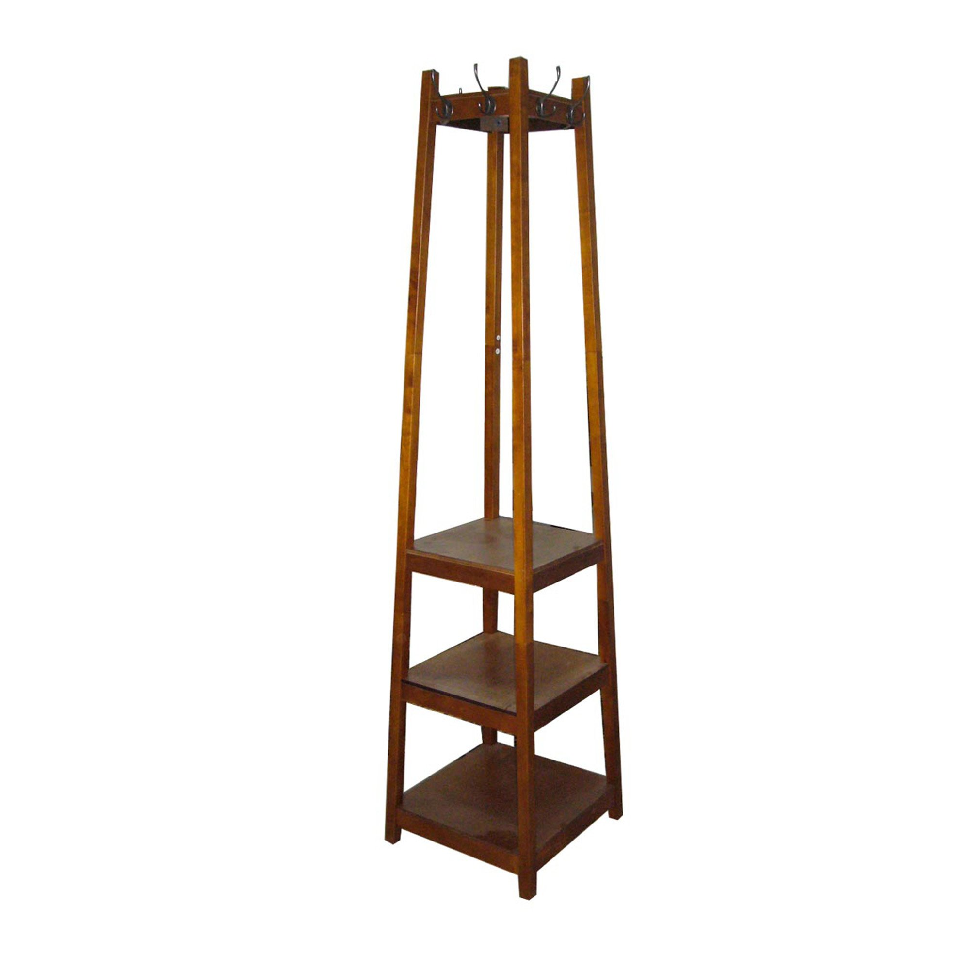 ORE International AFW1275C Three Tier Tower Shoe and Coat Rack, Brown