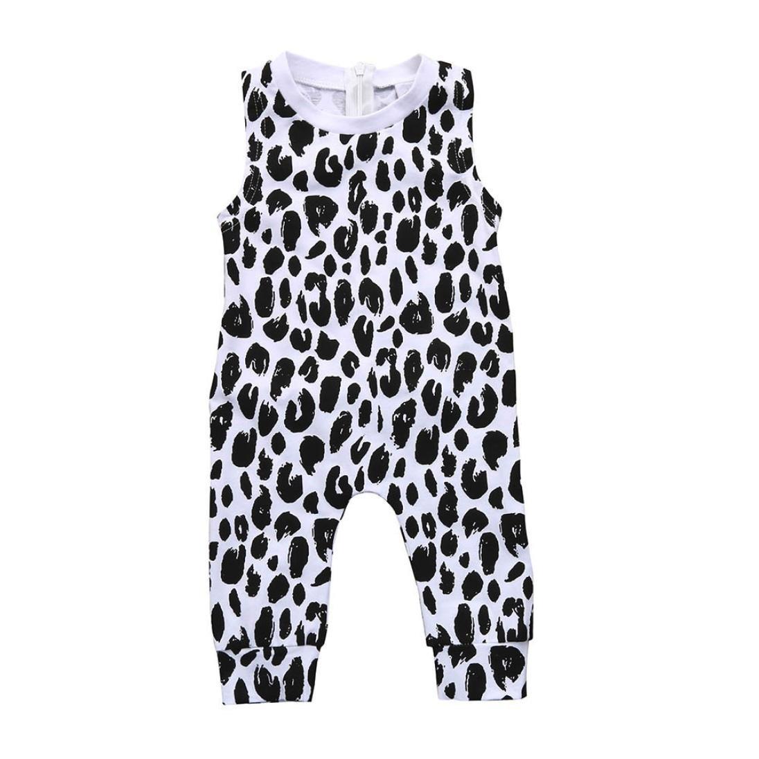 Zerototens Baby Jumpsuit, Toddler Infant Baby Boys Girls Sleepwear Onesie Bodysuit Sleeveless Onepiece Zipper Jumpsuit Clothes Leopard Romper Jumpsuit Trousers Summer Clothes