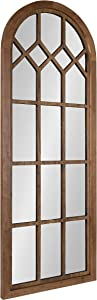 Kate and Laurel Gilcrest Traditional Arch Wood Framed Windowpane Wall Mirror, 18 x 47, Rustic Brown, Farmhouse Decorative Mirror