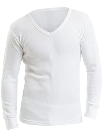 d6829d6d08 3er-Pack Herren Thermounterwäsche, Langarm-Unterhemd mit V-Ausschnitt, weiß,