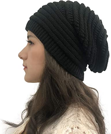Womens Wool Knitted Beanie NEW Ski Hat Slouch Cap Over Sized Beanie Warm Baggy