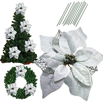 86 inch glitter artifical wedding christmas flowers glitter poinsettia christmas tree ornaments christmas tree decorations pack