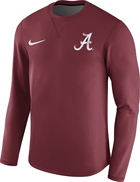 Nike Camiseta de fútbol de Alabama Crimson Tide carmesí Moderno diseño Crew Camiseta de Manga Larga