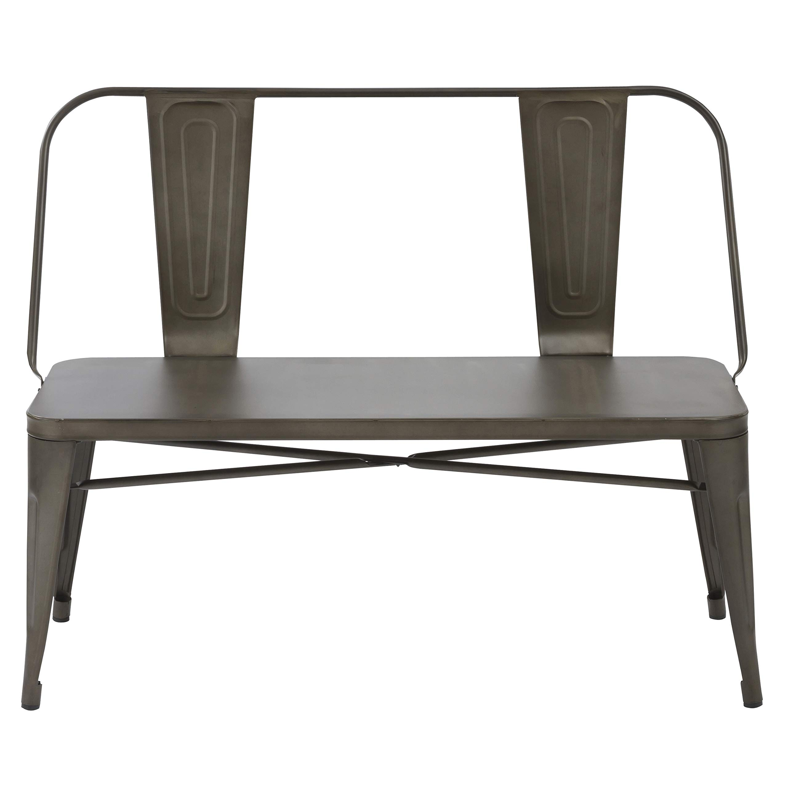 BTEXPERT Industrial Antique Steel Frame Distressed Metal Dining Bench with Full Back Seat, Bronze Patio Garden