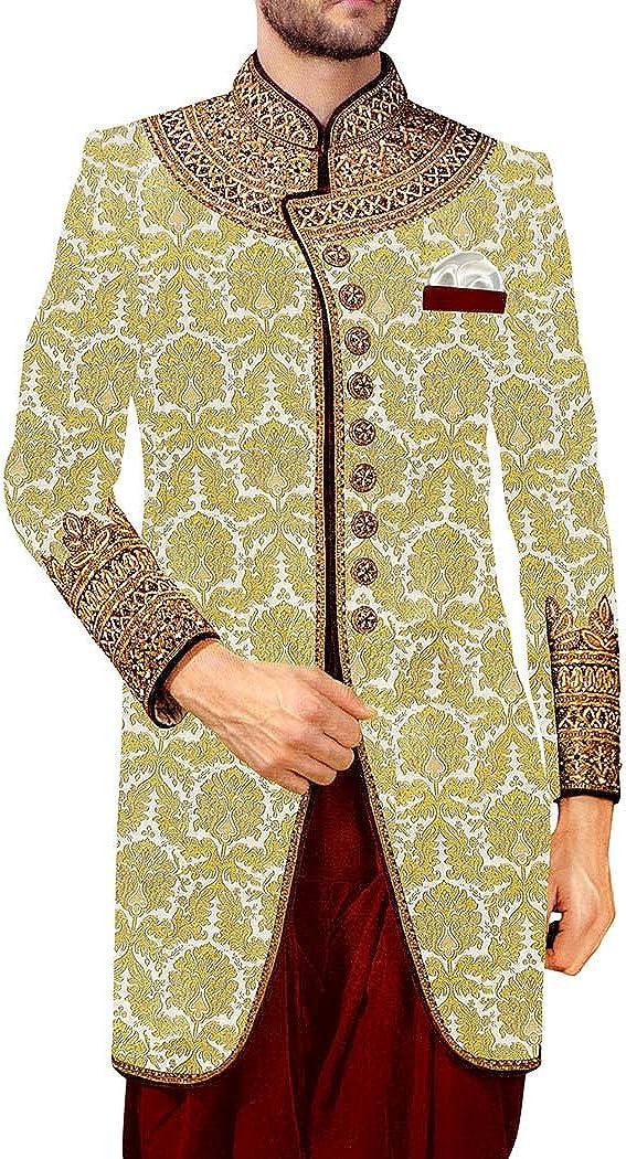 INMONARCH Men Sherwani Light Yellow Embroidered Sherwani for/Men Designer SH0183