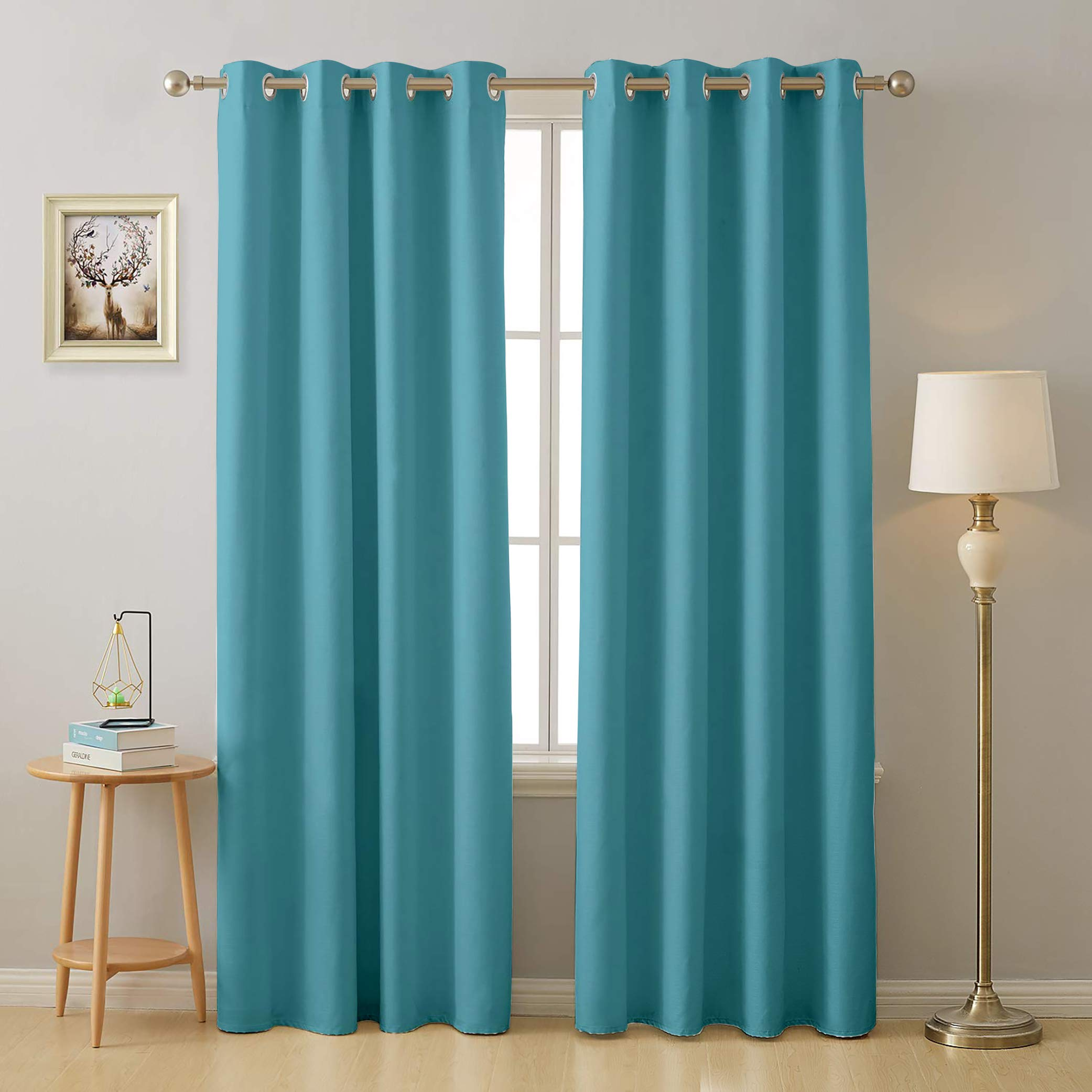 Cloth Fusion Valance Room Darkening 2 Pc Blackout Curtains for Door 7 Feet- Peacock Blue (B07H91FJ6R) Amazon Price History, Amazon Price Tracker